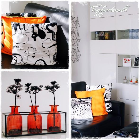 Herbstdeko orange weiß schwarz Wohnzimmer