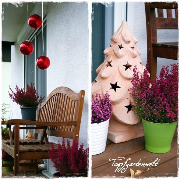 weihnachtlich geschmückte Terrasse
