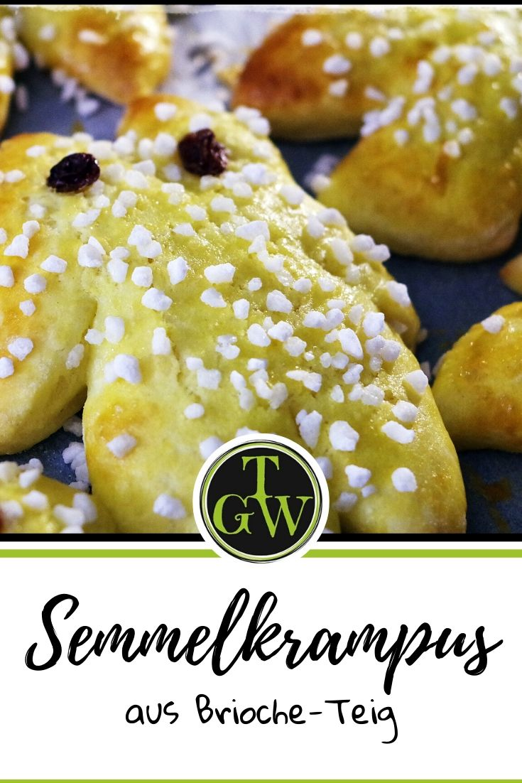 Semmelkrampus aus Brioche-Teig mit Hagelzucker und Rosinen - Gartenblog Topfgartenwelt #Brioche #Semmelkrampus #Backen #Nikolaus #Krampus #Österreich