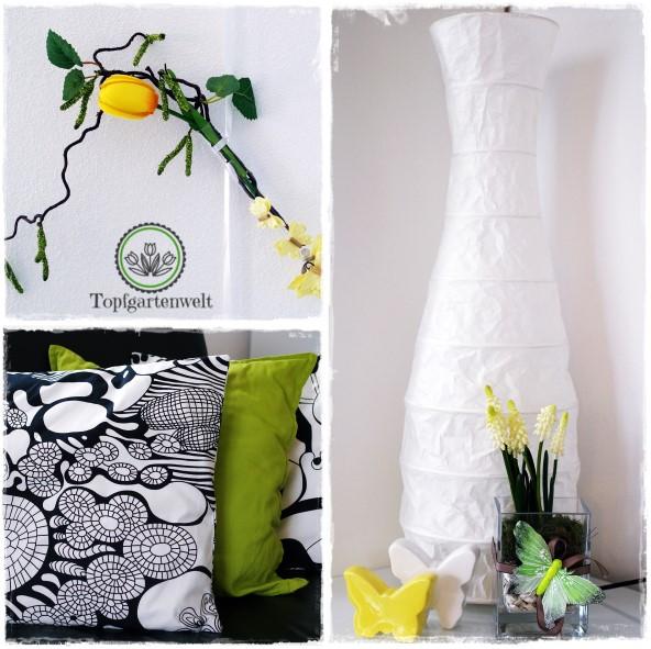 Gartenblog Topfgartenwelt Deko: gelbe Tulpe mit Birkenzweigen im Reagenzglas für Frühling und Ostern