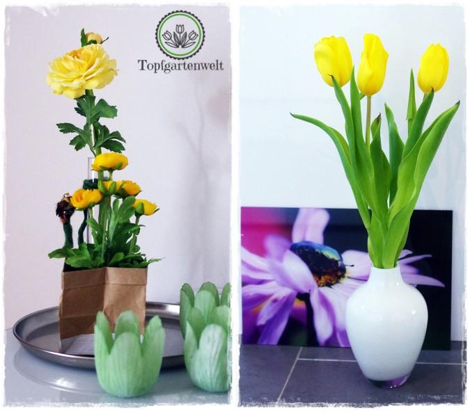 Gartenblog Topfgartenwelt Deko: gelbe Ranunkeln und Tulpen in Vase