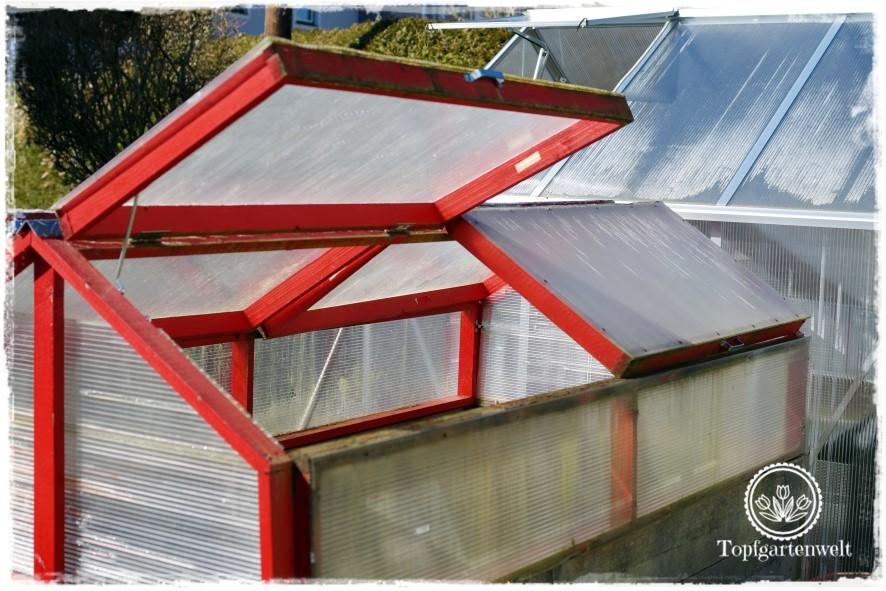 Gartenblog Topfgartenwelt DIY: Hochbeet Überdachung klappbar