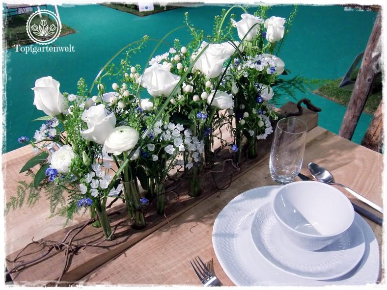 Gartenblog Topfgartenwelt Gartenmesse Blühendes Österreich 2017: Lehrlingswettbewerb der Floristen weiße Rosen