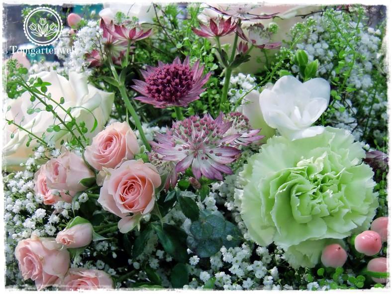 Gartenblog Topfgartenwelt Gartenmesse Blühendes Österreich 2017: Lehrlingswettbewerb der Floristen rosa Rosen und Sterndolden