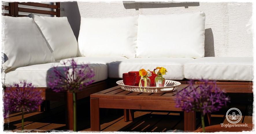 Terrasse modern, aber gemütlich gestalten mit Loungemöbel von IKEA!