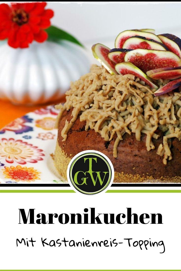 Gartenblog Topfgartenwelt Backen mit Maroni: Rezept Schokolade-Maroni-Kuchen mit Kastanienreis-Topping und frischen Feigen #Rezept #Maroni #Schokolade #Kastanienreis #Feigen