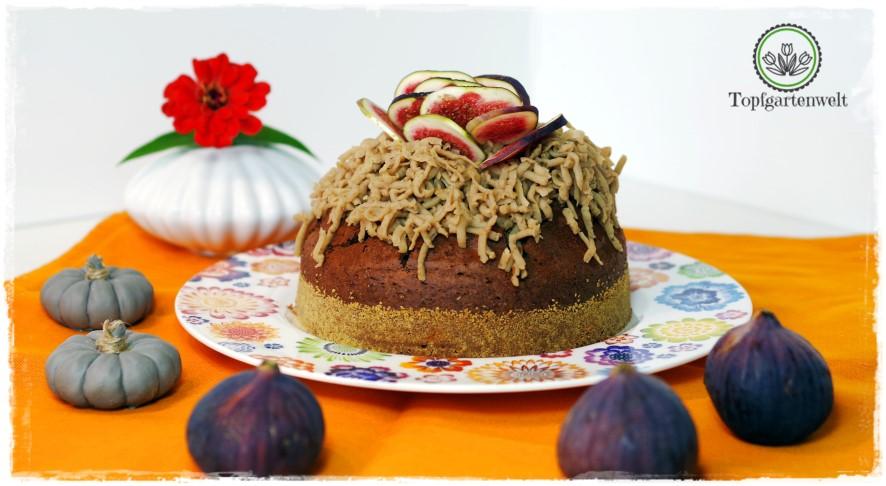 Gartenblog Topfgartenwelt Backen mit Maroni: Schokolade-Maroni-Kuchen mit Kastanienreis-Topping und frischen Feigen
