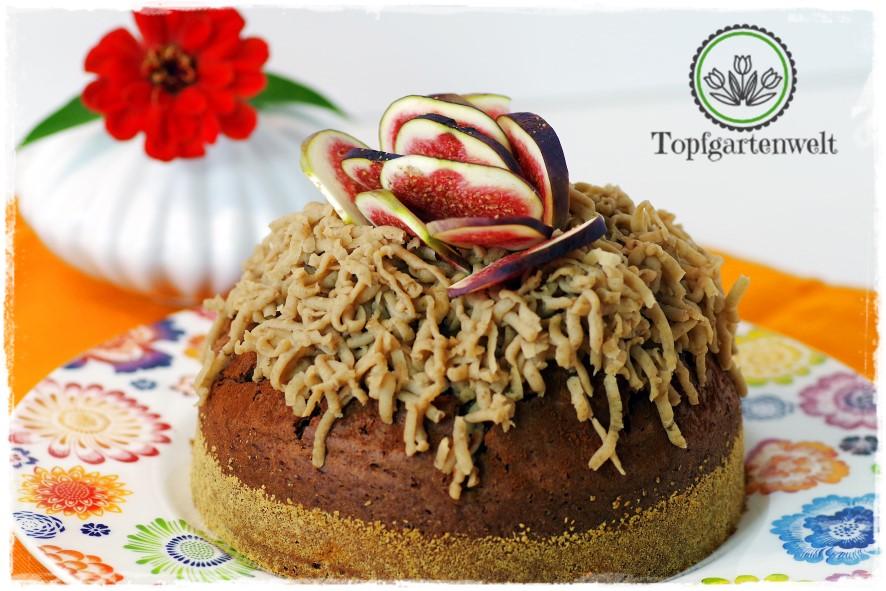 Maronikuchen mit Schokolade und Kastanienreis-Topping - Foodblog Topfgartenwelt