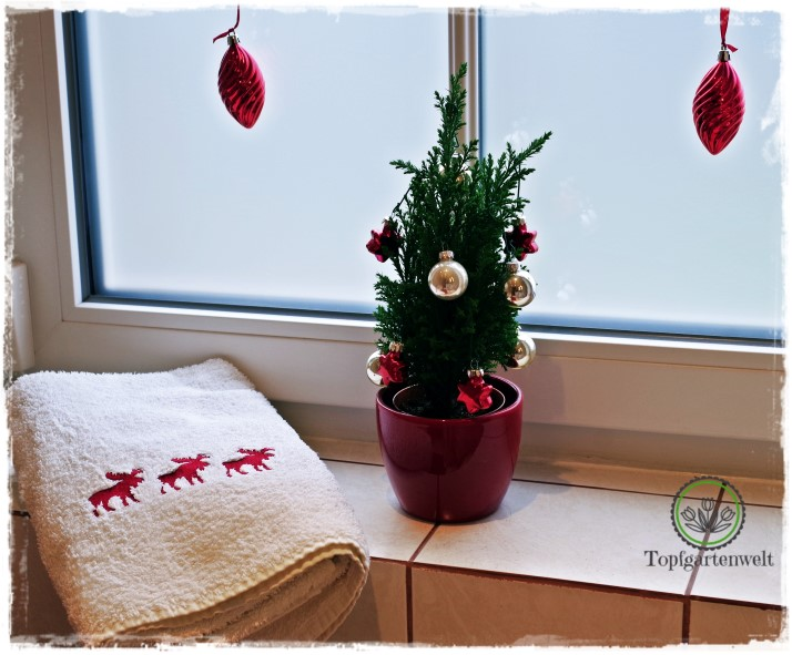 Gartenblog Topfgartenwelt festliche Weihnachtsdekoration in Rot und Weiß + Rezept Flammkuchen: ein Tannenbäumchen für das Badezimmer
