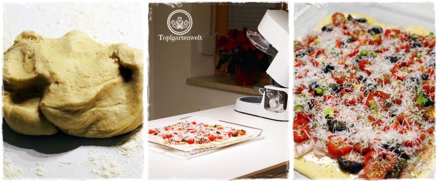 Gartenblog Topfgartenwelt festliche Weihnachtsdekoration in Rot und Weiß + Rezept Flammkuchen: Sauerrahm belegen selbstgemacht Küchenmaschine