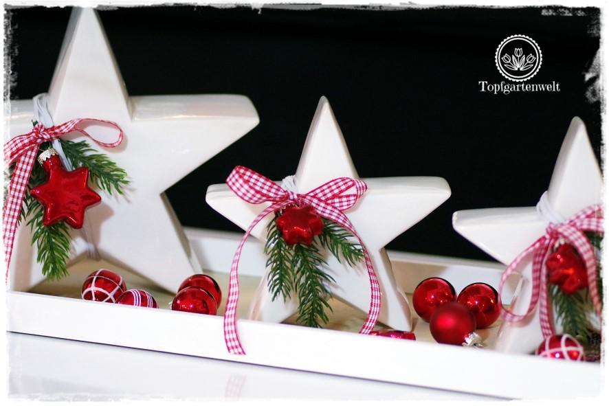 Gartenblog Topfgartenwelt festliche Weihnachtsdekoration in Rot und Weiß + Rezept Flammkuchen: weiße Porzellansterne mit Kugeln und Tannenzweig