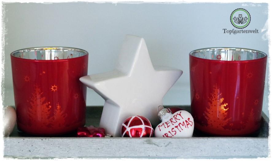 Gartenblog Topfgartenwelt festliche Weihnachtsdekoration in Rot und Weiß + Rezept Flammkuchen: Teelichter