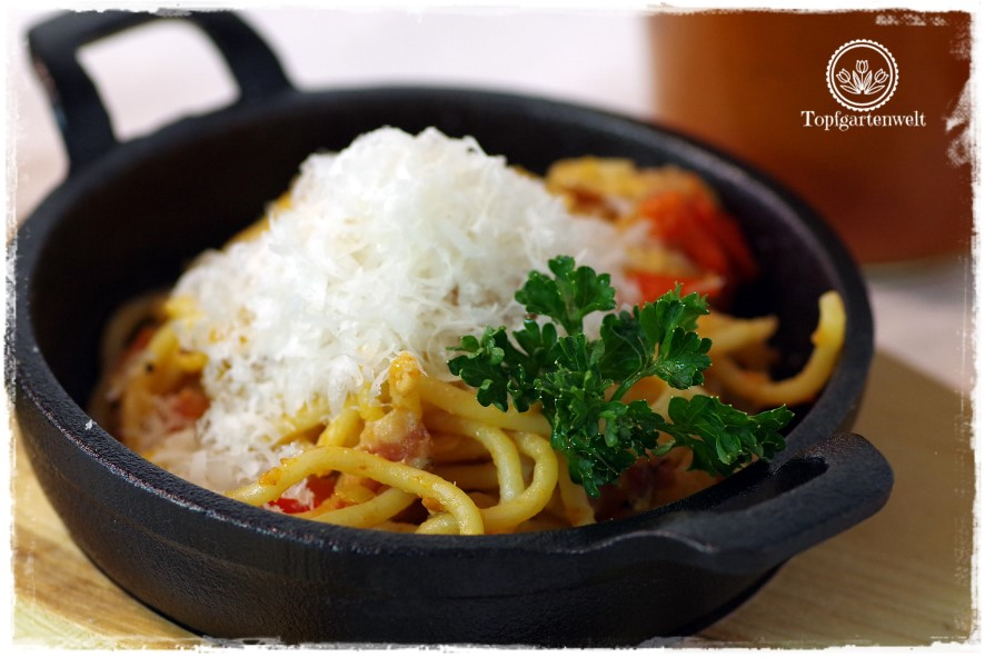 Gartenblog Topfgartenwelt Buchtipp Pasta e basta! Rezept: selbst gemachte Nudeln mit Speck