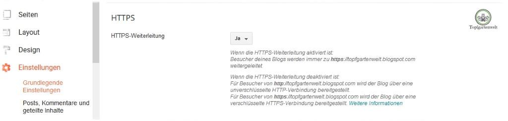 Gartenblog Topfgartenwelt Umsetzung der DSGVO auf Blogspot: Aktivieren von HTTPS