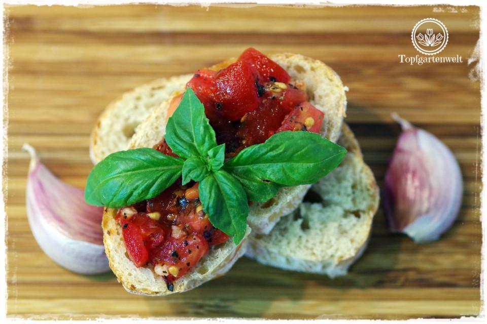 Tomaten-Bruschetta auf Ciabatta-Brot garniert mit Basilikum - eine schnelle Jause - Foodblog Topfgartenwelt