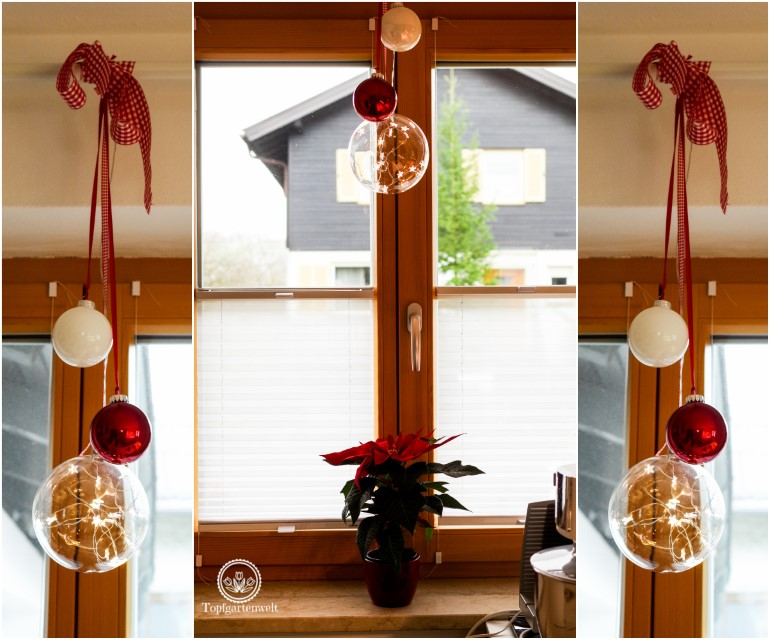 Weihnachtsdekoration weihnachtliche Dekoration für die Küche am Fenster mit Kugeln - Blog Topfgartenwelt