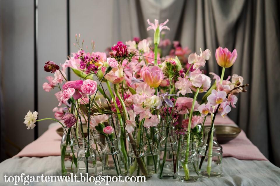 Gartenmesse Salzburg - Tischschuck aus Vasen und Blumen - Gartenblog Topfgartenwelt
