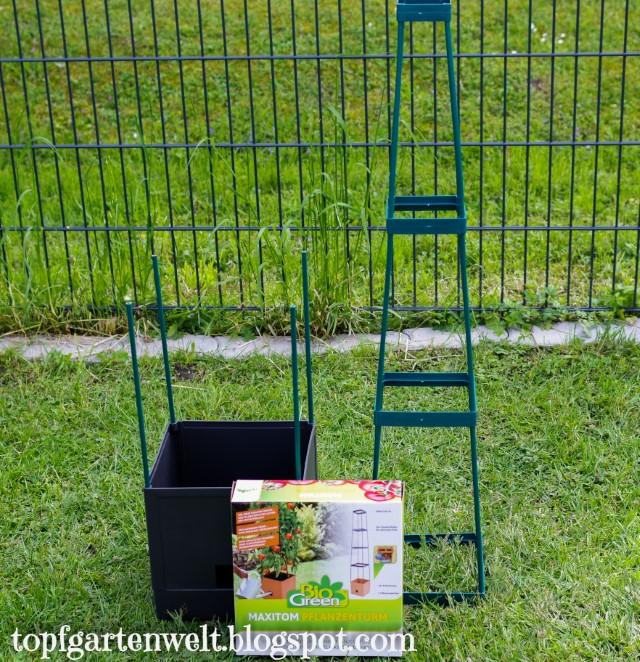 Rankturm für Tomaten mit Wasserspeicher - Gartenblog Topfgartenwelt