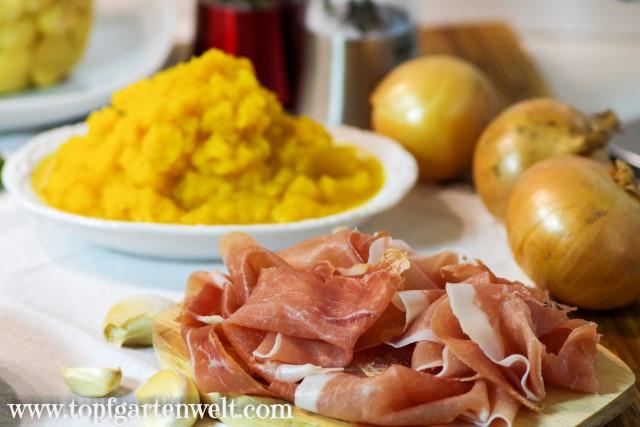 herzhafte Füllung für Ravioli mit Zucchini, Ricotta und Prosciutto - Foodblog Topfgartenwelt