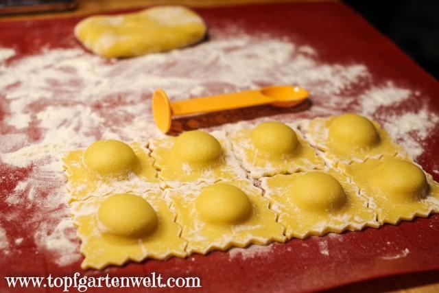 selbstgemachte Ravioli herzhaft mit Ricotta gefüllt - Foodblog Topfgartenwelt