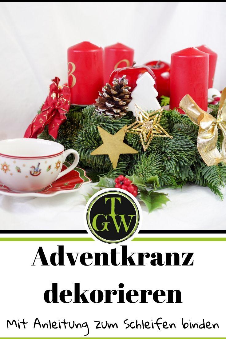 Einen leeren Adventkranz in rot dekorieren | mit Anleitung zum Schleifen binden #adventkranz #rot #dekorieren #schleifebinden