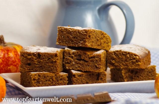 Blechkuchen mit Kürbis und Schokolade - Foodblog Topfgartenwelt