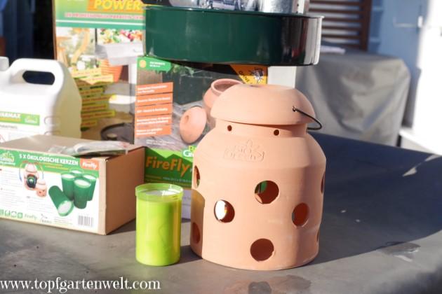 Gewächshaus ohne Strom heizen - Kerzenheizung Firefly von BioGreen - Gartenblog Topfgartenwelt