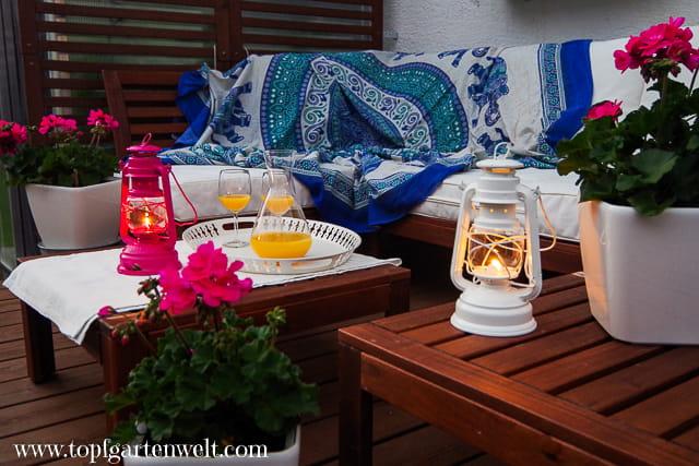 Urlaubsfeeling zu Hause - stimmungsvolles Licht - Feuerhand Baby Special 276 - Gartenblog Topfgartenwelt